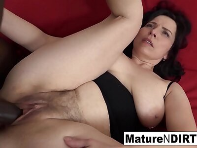 Full-grown with natural Bristols gets a creampie in say no to hairy pussy!
