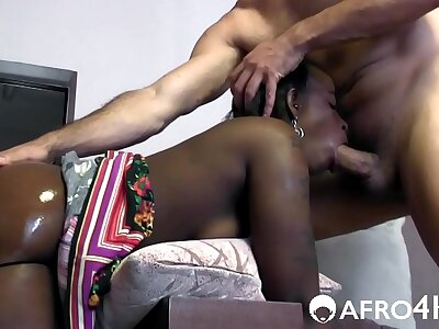 White cock fucks African girl apropos 3 HOLES