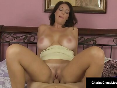 Fat Teat Mommy Charlee Chase Rides Horseshit & Milks Her Man!